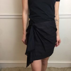 Elizabeth and James Wool Pinstripe Fringe Skirt